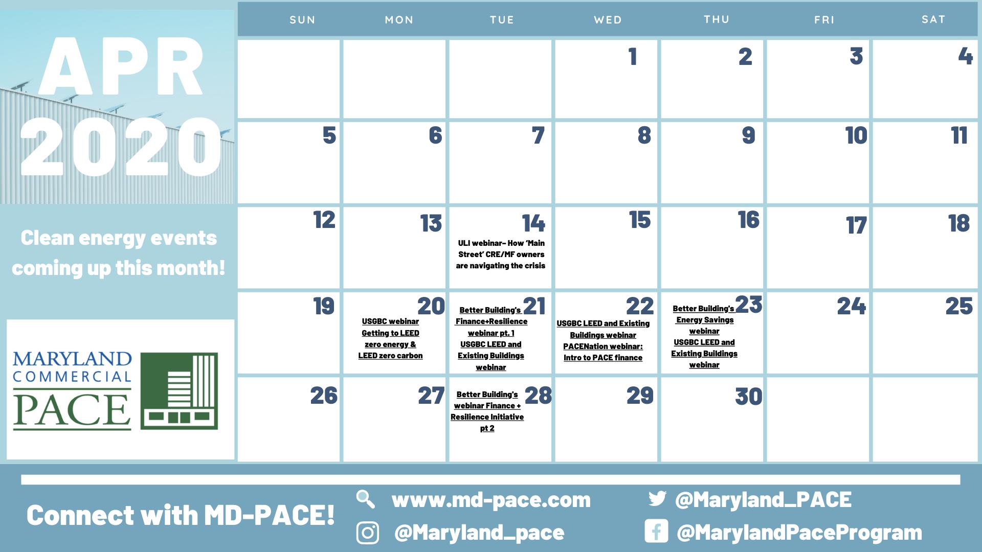 April 2020 Calendar of Events
